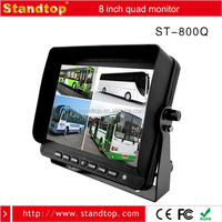 8 inch rear view 4 channel quad monitor for vehicle, like bus/trailer/truck