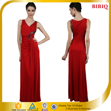 2015 New Arrival fashion red ladies chiffon party dress