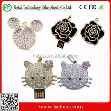 jewerlry diamond usb flash drives 4GB black rose pen drive/cat shape jewelry usb dirve for women gift