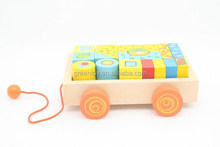 Toddler wooden pull line toys with blocks