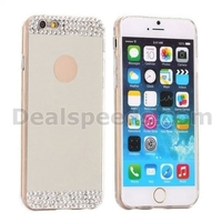 Diamond Mirror PC Back TPU Edges Studded Case for iPhone 6 6S - Silver