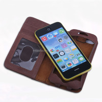 100% Genuine Leather Wallet Case for Iphone 5 5s Mobile Phone Bag Cover Luxury Book Style Card Holder