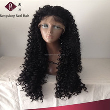 Heat Resistant Synthetic Hair Black Long afro kinky curly lace front wig