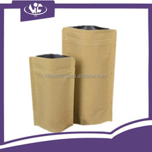 Window Pouch Waterproof Kraft Paper Bag For Cookies Snack Food Beef Jerky Customized Printing Two Layers Brown Stand Up Pouch