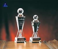 2015 Newest crystal globe award- -NO.1 Crystal Trophy Factory