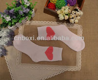 Boxi-High quality women's 100%cotton thickened socks with big heart,light pink