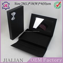prezzo di fabbrica di alta qualità rettangolo nero pu cuoio gioielli scatole per imballaggio con specchio
