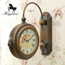 Europe/American vintage round double sides brozne color retro hanging wall clock