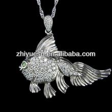 925 silver cz fish shape pendant jewelry