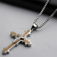 Dongguan Factory custom fashion 18K gold plated stainless steel large cross pendant for men MX0003
