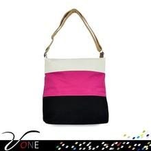 Women Canvas Handbag Joint Color Female Zip Shoulder Bag