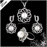 DLY Glamorous flower of life ring 925 silver original pearl ring jewelry set 2015 best selling jewelry