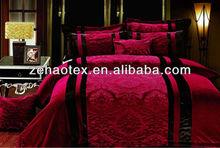 2014 hot sale festival red color PV coral fleece patchwork bedding comforter set for adults