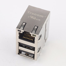 TRJU4201 2x4 port Shield Side entry 8 Pin RJ45 Connector