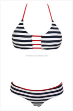 sexy halter stripe bikini swim wear set