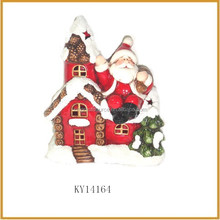 ceramic lights christmas village houses with santa claus decoration