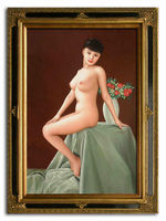 Chinese nude lady on a desk beautiful flowers Oil Painting
