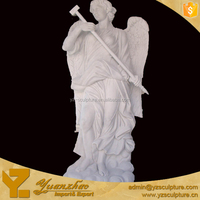 Large Marble Standing Angel TakingHammer Statue for garden decoration