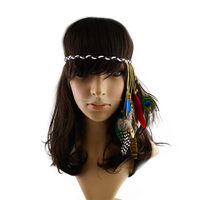 2015 New Arrival Bohemia wax cotton rope colourful natural feather elastic hair wrap/hair band/head band