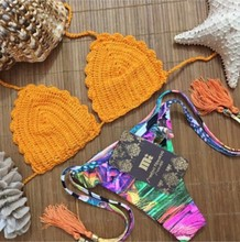 2015 unique design orange triangle crochet knitting bikini