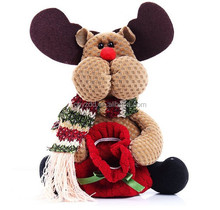 Xmas Retro Santa's Present Gift Bag Pouch /Stuffed Reindeer Bag for Christmas Gifts