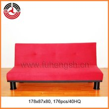 Popular Red 3-seater Fabric Futon Sofa bed with a Support leg