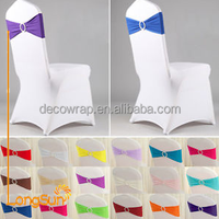 Lycra Spandex Chair Sash with Round Plastic Metal Diamond Buckle for Wedding Banquet Party