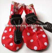 Lovely red pet shoes for dogs, made of Oxford Cloth