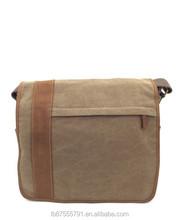 Genuine leather single shoulder vintage canvas bag for laptop