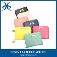 Hot custom gift manufacturer style cheap leather ladies fashion short wallets, korean wallet women rfid credit card bag