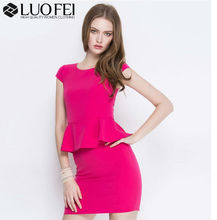 High Quality factory hot pink stretch knit cap sleeve peplum dress for office lady