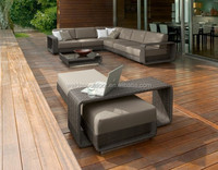 Polyethylene Outdoor Furniture Luxury Gray Rattan Sofa Set (DH-9535-1)