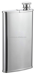 Stainless Steel 4-Ounce Hip Flask with Built-In Cigar Holder