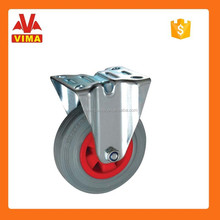 75mm fixed grey rubber caster with red plastic core Industrial Carts Caster