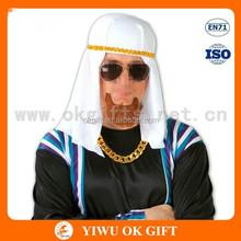 White Silk kerchief with gold headband, muslim headscarf, muslim square scarf