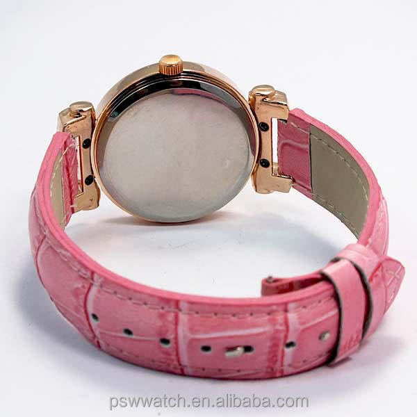 rose gold flower print dial Japan quartz lady watches fashion leather watch