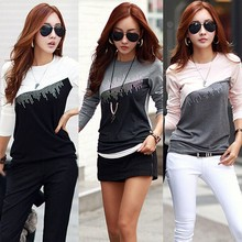 Korean style Lady Women's Long Sleeve Casual Dots Tops blouse/shirt SV014141