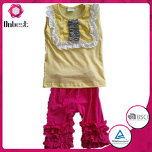 Hot Sale 2015 Toddler Girls Boutique Clothing Set Cotton Baby Ruffle Pant Set For Kids Outfit Suit Set