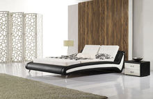 High quality wave shaped soft leather bed,hot bedroom furniture set