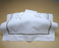 beautiful rectangular decorated embroidered design cotton linen fabric tissue box cover