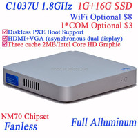 2014 new fashion rugged fanless mini pc using Intel Celeron dualcore C1037U 1.8GHz cpu full alluminum 29mm extreme ultra-thin