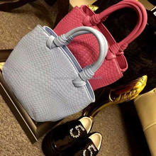 """model no.3818 """"15% off with this flyer hot selling women knit single shoulder pu leather weave bags """""""