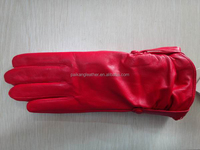 Ladies / women classic basic genuine leather gloves with elastic #MRK-001