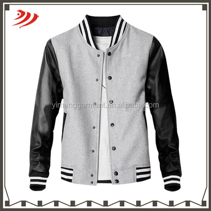 Plain Leather Jacket Mens Men Wool Plain Varsity Jacket