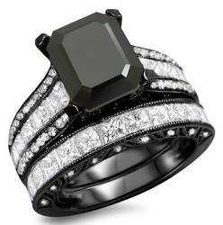WRRS10036 2015 New Products in China Fashion Style Emerald Cut Main Stone CZ Black Plating 925 Sterling Silver Ring