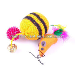 salable pet set toy Lovely colorful knitting line small cat catch funny ball toys for training