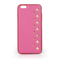 Cheap 4.7inch backpack pink pu leather for iphone tpu case