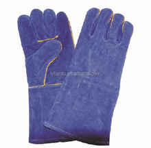 resistant heat glove with long sleeve/ blue long welding gloves/ leather working gloves arm protecting