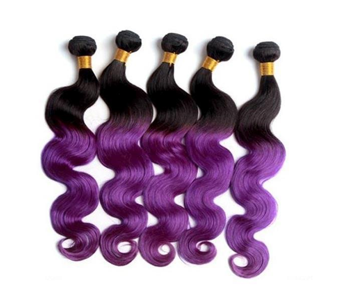 6a Ombre Peruvian Hair Weave 14inch To 28inch Ombre Color 1b Purple
