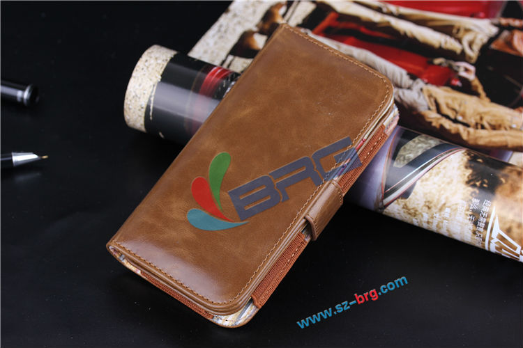 BRG Manufacture Luxury universal flip leather case for iphone 6 Samsung S5, HTC M8